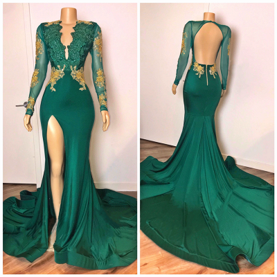 Open Back Sexy Side Slit Green Prom Dresses Long Sleeves On Sale_2