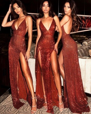 Cheap Sequins Sexy Side Slit Evening Dresses | 2020 Long Spaghetti Straps Backless Prom Dresses_3