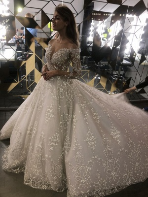 Sheer Tulle Sparkle Lace Wedding Dresses with Sleeves | Princess Ball Gown Bridal Dresses with Court Train Cheap_2