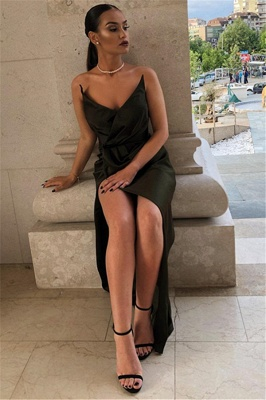 2020 Sexy Black V-Neck Sheath Evening Dresses | Side Slit Sheath Ruffles Prom Dress_3