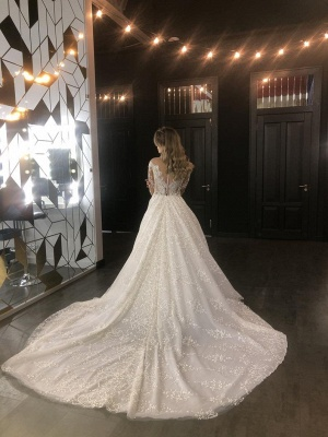 Sheer Tulle Sparkle Lace Wedding Dresses with Sleeves | Princess Ball Gown Bridal Dresses with Court Train Cheap_3