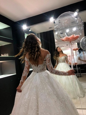 Sheer Tulle Sparkle Lace Wedding Dresses with Sleeves | Princess Ball Gown Bridal Dresses with Court Train Cheap_4