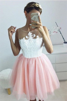 2020 Short A-line Sleeveless Homecoming Dress | Tulle Appliques Hoco Dress with Buttons_3