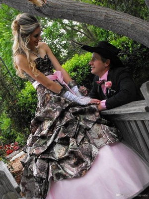 Cute Pink Camo Wedding Dress Sweetheart Drapped Ball Gown Vintage Forest Prom Dresses_3