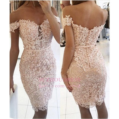 Sexy Off-the-Shoulder Short Formal Dress Lace Sheath Buttons Homecoming Dress BA6358_1