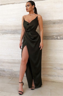 2020 Sexy Black V-Neck Sheath Evening Dresses | Side Slit Sheath Ruffles Prom Dress_1