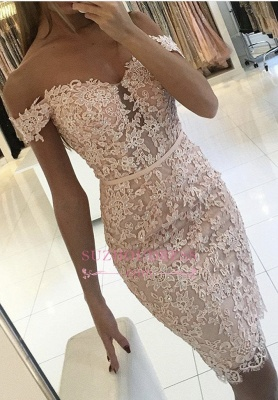 Sexy Off-the-Shoulder Short Formal Dress Lace Sheath Buttons Homecoming Dress BA6358_3