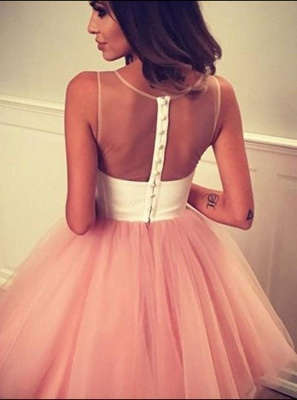 2020 Short A-line Sleeveless Homecoming Dress | Tulle Appliques Hoco Dress with Buttons_4