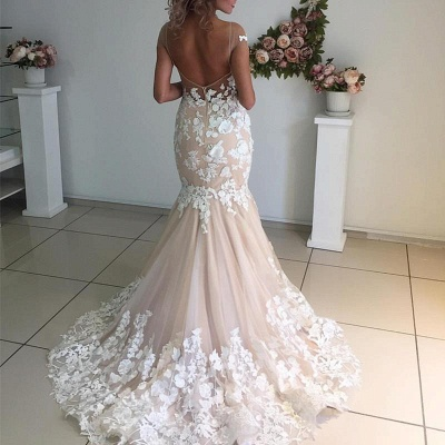 Champagne Pink Lace Appliques Wedding Dresses 2020 | Short Sleeves Mermaid Backless Bridal Dress Cheap_2