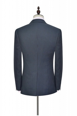Newest Slim Fit Wool Small Grid Formal Men Wear | Custom One Button Three-piece Men Suits (Blazer Pants Vest)_3