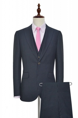 Newest Slim Fit Wool Small Grid Formal Men Wear | Custom One Button Three-piece Men Suits (Blazer Pants Vest)_2