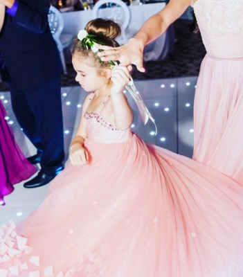 Lovely Pink Spaghetti Straps Flower Girl Dresses | Crystal Tulle Puffy Girls Pageant Dresses 2020_1