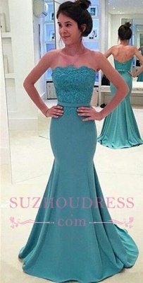 Sash Mermaid Long Green Lace Strapless Evening Gowns_2