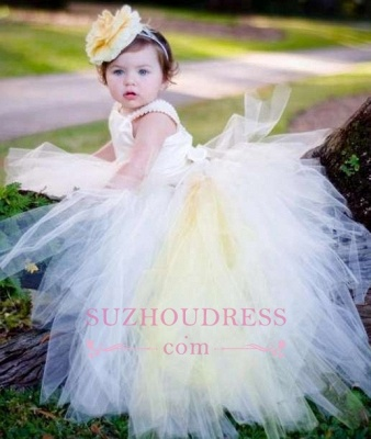 Tulle Scoop Sleeveless Ball-Gown Flower-Girl-Dresses 2020 Pearls Pageant Dress_2
