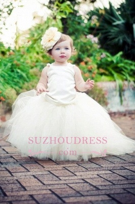 Tulle Scoop Sleeveless Ball-Gown Flower-Girl-Dresses 2020 Pearls Pageant Dress