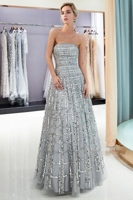Elegant Strapless A-Line Long Evening Dresses | 2020 Sequins Floor Length Evening Gowns Online_6