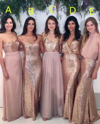 Sexy Sequins Cheap Bridesmaid Dresses | Chiffon Floor Length 2020 Maid Of Honor Dresses Online_1