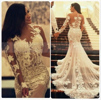 Sexy Sheer Tulle Mermaid Bridal Gowns Court Train Long Sleeve Plus Size Wedding Dresses MH009_3