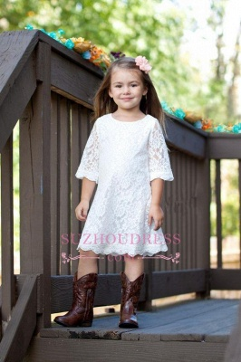 A-line White Cute Half Sleeve Knee Length 2020 Lace Flower Girl Dress_1
