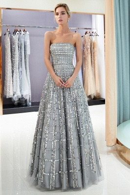 Elegant Strapless A-Line Long Evening Dresses | 2020 Sequins Floor Length Evening Gowns Online_2