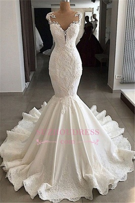 2020 Sexy Mermaid Wedding Dress   Sleeveless Sheer Tulle Appliques Bridal Gowns_1