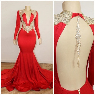 Long Sleeve Red Prom Dresses with Beads Crystals | V-neck Open Back Sexy Evening Gowns Cheap_2