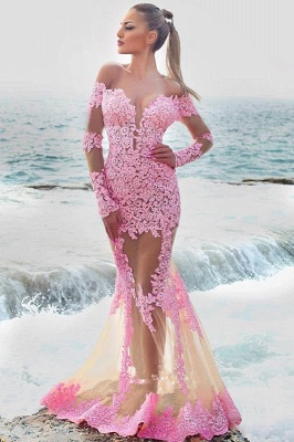Off-the-shoulder Lace Tulle Prom Dress | Elegant Appliques Long Sleeve 2020 Evening Dresses_1