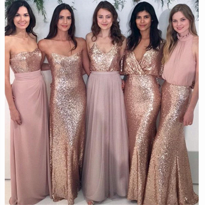 Sexy Sequins Cheap Bridesmaid Dresses | Chiffon Floor Length 2020 Maid Of Honor Dresses Online_3