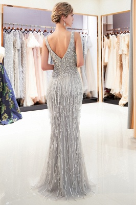 Sexy Silver V-Neck Evening Dresses 2020 | Sequins Sleeveless Sheath Long Formal Gowns_3