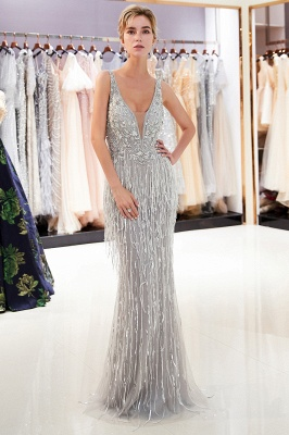 Sexy Silver V-Neck Evening Dresses 2020 | Sequins Sleeveless Sheath Long Formal Gowns_2