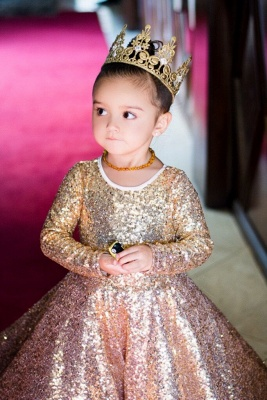 2020 Long Sleeve Champagne Gold Sequins Flower Girls Dresses Cheap Lovely Girls Pageant Dress_3