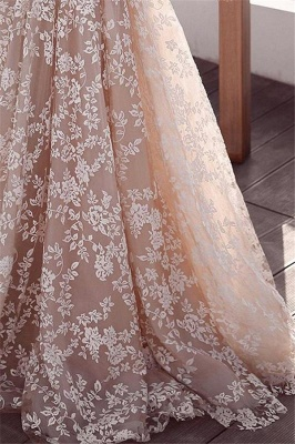 Long Sleeve Sheer Tulle Lace Wedding Dress Cheap 2020 | Champagne Pink Princess Outdoor Bridal Dress Online_4
