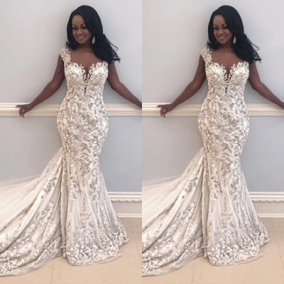 Sexy Sleeveless Beads Appliques Mermaid Cheap Wedding Dresses for Brides_2