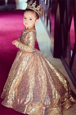 2020 Long Sleeve Champagne Gold Sequins Flower Girls Dresses Cheap Lovely Girls Pageant Dress