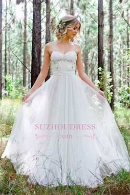 Spaghetti-Straps Cheap A-Line Tulle Simple Beadings Wedding Dress_4