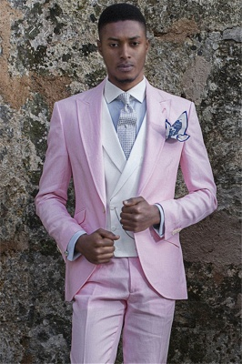 Handsome Notch Lapell Groom Tuxedos | Custom Pink Prom Men Suits (Blazer Pants)_1