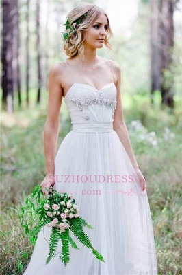 Spaghetti-Straps Cheap A-Line Tulle Simple Beadings Wedding Dress_3
