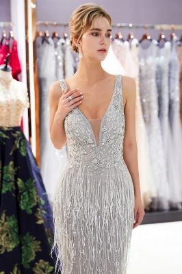 Sexy Silver V-Neck Evening Dresses 2020 | Sequins Sleeveless Sheath Long Formal Gowns_4