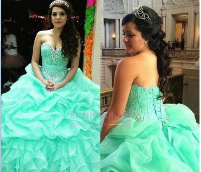 Elegant Sweetheart Lace-Up Ruffles Sweet 16 Dresses Crystal Ball Gown Quinceanera Dress_3