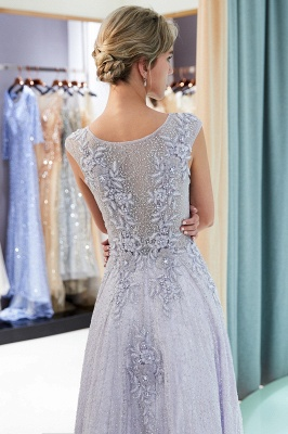 Purple Lace Appliques Crystal Evening Dresses | Elegant Sleeveless Long Evening Gowns Online_5