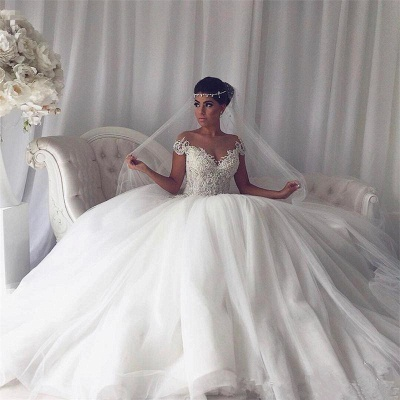 2020 Beads Lace Royal Wedding Dresses Cheap | Princess Ball Gown Sheer Tulle Sexy Bridal Gowns_3