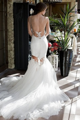 Sexy Backless Mermaid Wedding Dresses | Spaghetti Straps Appliques Bridal Gowns 2020_4
