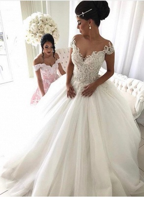 2020 Beads Lace Royal Wedding Dresses Cheap | Princess Ball Gown Sheer Tulle Sexy Bridal Gowns_4