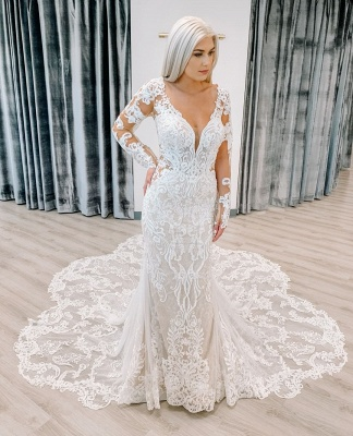 Mermaid Delicate Appliques Wedding Dresses cheap | V-neck Sheer Tulle Long Sleeve Bridal Gowns_2