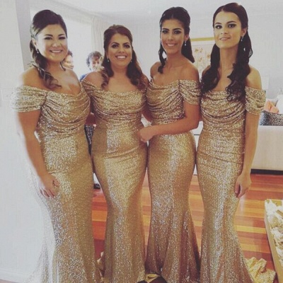 Off The Shoulder Gold Sequins Bridesmaid Dresses Mermaid Cheap Dresses for Maid of Honor BA3186_3