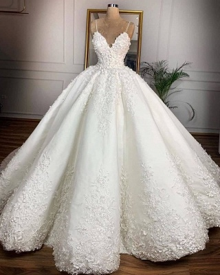 V-neck Spaghetti-straps Appliques Ball Gown Wedding Dresses | Gorgeous Lace Bridal Gowns 2020_2
