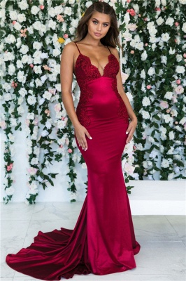 Magenta Backless Mermaid Spaghetti Straps Evening Dresses | Sleeveless Mermaid Lace Prom Dresses 2020 Cheap BC0559