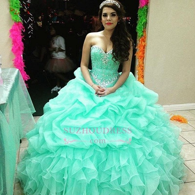 Elegant Sweetheart Lace-Up Ruffles Sweet 16 Dresses Crystal Ball Gown Quinceanera Dress_1