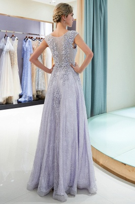 Purple Lace Appliques Crystal Evening Dresses | Elegant Sleeveless Long Evening Gowns Online_3