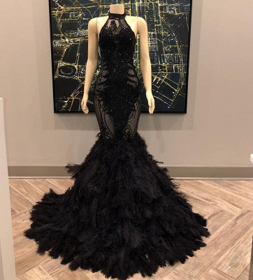 Lace Appliques Halter Feather Prom Dresses | Sleeveless Sexy Mermaid Evening Gowns_2